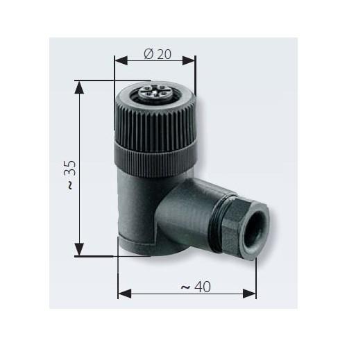 Connecteur M12x1 EN 61071-2-101 D coudé pour transmetteur de pression à embase M12x1
