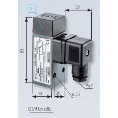 Pressostat à contact inverseur, tarage jusque 100 bar, 250 V maxi, G1/4 femelle avec mesures