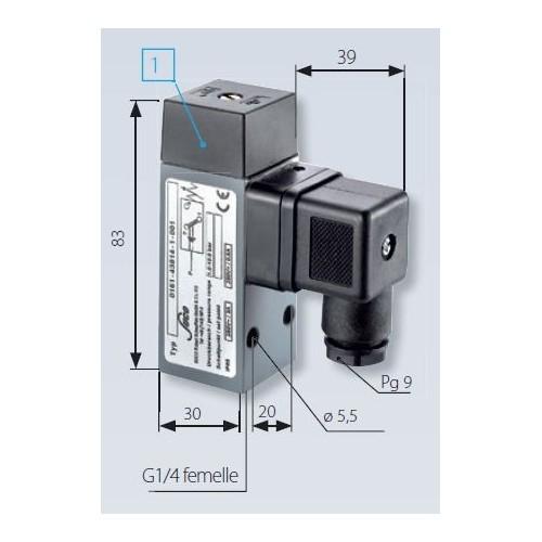 Pressostat à contact inverseur, tarage jusque 400 bar, 250 V maxi, G1/4 femelle avec mesures