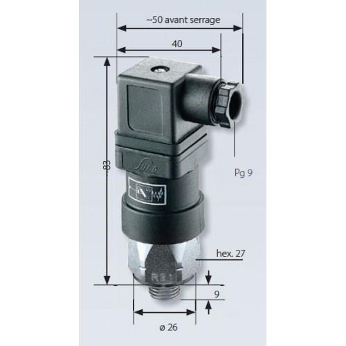 Pressostat à contact inverseur, tarage jusque 100 bar, 250 V maxi, G1/4 mâle, connecteur EN 175301 (DIN 43650) avec mesures