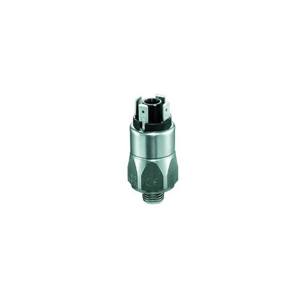 Pressostat à contact inverseur, tarage jusque 100 bar, 250 V maxi, G1/4 mâle, corps inox pour applications eau