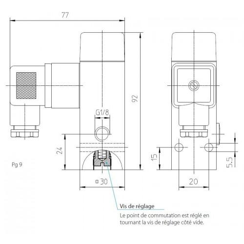 Schéma : Vacuostat à contact inverseur, jusque 950 mbar, 250 V maxi, G1/8 femelle