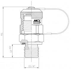 Schéma avec mesures : Miniprise de pression à clapet, 630 bar maxi, selon ISO 15171-2 (08/2000)