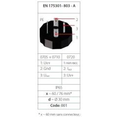 Transmetteur de pression 0...10 V (3 fils), mesure jusque 600 bar, G1/4 mâle DIN 3852-A, acier inox, tableau technique 01