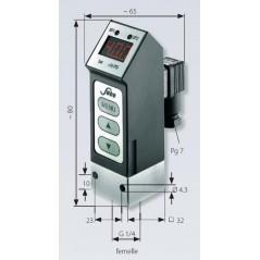 Photo avec mesures : Pressostat électronique avec afficheur à LED, jusque 400 bar, G1/4 femelle, deux seuils programmables, sort