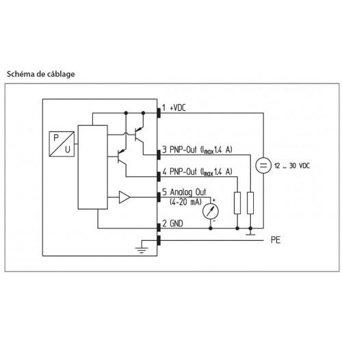 Schéma : Pressostat électronique avec afficheur à LED, jusque 400 bar, G1/4 femelle, deux seuils programmables, sortie 4...20 mA