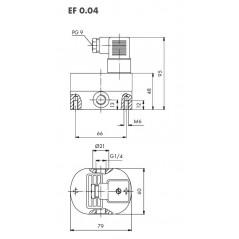 Schéma : Débitmètre volumétrique à engrenages cylindriques, 0,05...4 l/min, 200 bar, aluminium