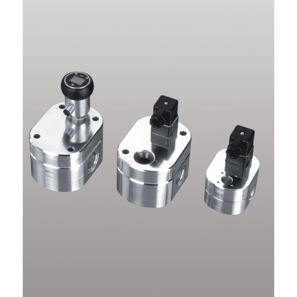 Vue 1 : Débitmètre volumétrique à engrenages cylindriques, 0,05...4 l/min, 200 bar, aluminium