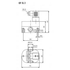 Schéma 2 : Débitmètre volumétrique à engrenages cylindriques, 0,1...10 l/min, 200 bar, aluminium