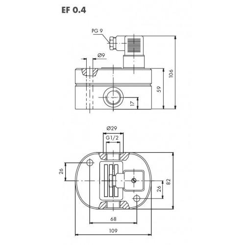 Schéma 1 : Débitmètre volumétrique à engrenages cylindriques, 0,2...30 l/min, 200 bar, aluminium