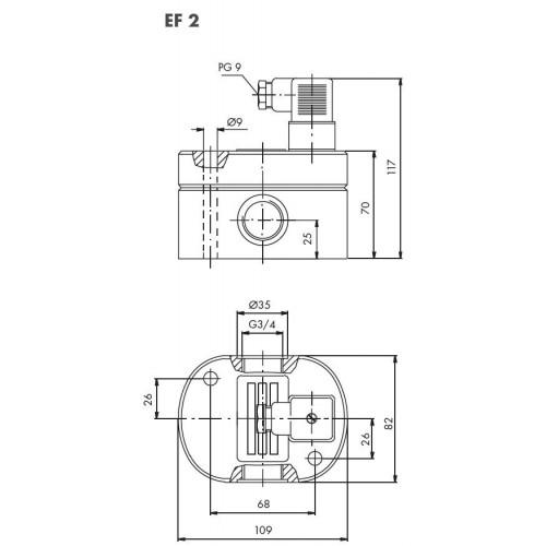 Schéma 2 : Débitmètre volumétrique à engrenages cylindriques, 0,5...70 l/min, 200 bar, aluminium