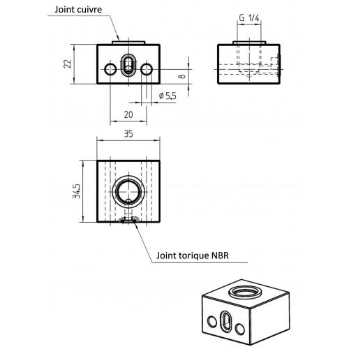 Schéma : Embase aluminium G1/4 femelle → flasque avec joint torique NBR